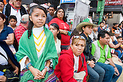 16 SEPTEMBER 2005 - MEXICO CITY:  People watch the Independence Day parade in Mexico City, Sept. 16. Mexico celebrated its 195th Independence Day in 2005 with a huge military parade through the center of Mexico City.  PHOTO BY JACK KURTZ