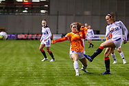 Kirsten Reilly (#8) of Rangers Women FC clears the ball out of danger during the Scottish Building Society Womens Premier League match between Glasgow City Women and Rangers Women at Broadwood Stadium, Glasgow, Scotland on 13 December 2020.