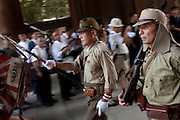 Right wingers in Imperial era military uniforms parade at the commemorations of the end of the Pacific War on August 15th at Tokyo controversial yasukuni shrine. Tokyo, Japan, Monday August 15th 2011