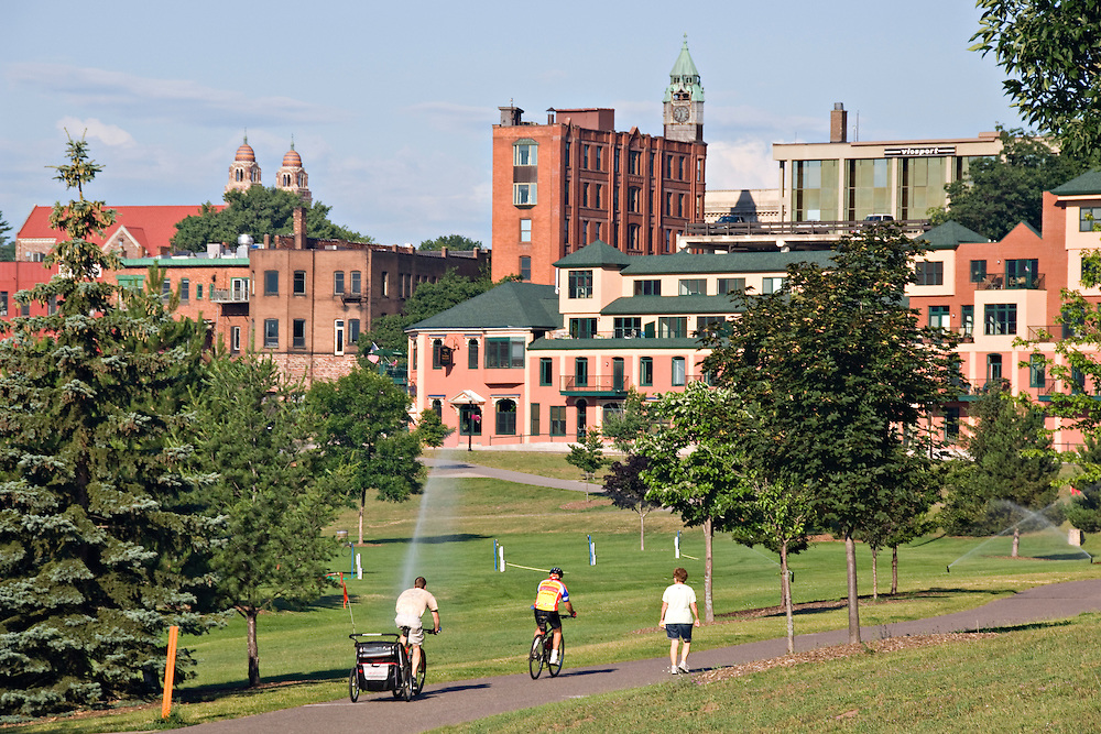 Walking and biking path at Mattson Lower Harbor Park in downtown Marquette Michigan.