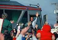 Charlottesville, Virginia 1993/01/17.  President elect Bill Clinton waves as he boards a bus from  Charlottesville, Virginia to Washington, DC for his Inauguration.<br />Photo by Dennis Brack