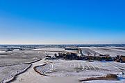 Nederland, Noord-Holland, Driehuizen; 22-02-2021; Eilandspolder. De eerste schaatsers van de winter op het ijs. Natuurijs. The first skaters of winter on the ice. Natural ice.<br /> <br /> drone-opname (luchtopname, toeslag op standaard tarieven);<br /> drone recording (aerial, additional fee required);<br /> copyright foto/photo Siebe Swart