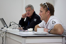Jesper Radich enjoys chat with sailing commentator Peter (PJ) Montgomery during a break in sailing. Monsoon Cup 2010. World Match Racing Tour, Kuala Terengganu, Malaysia. 3 December 2010. Photo: Subzero Images/WMRT
