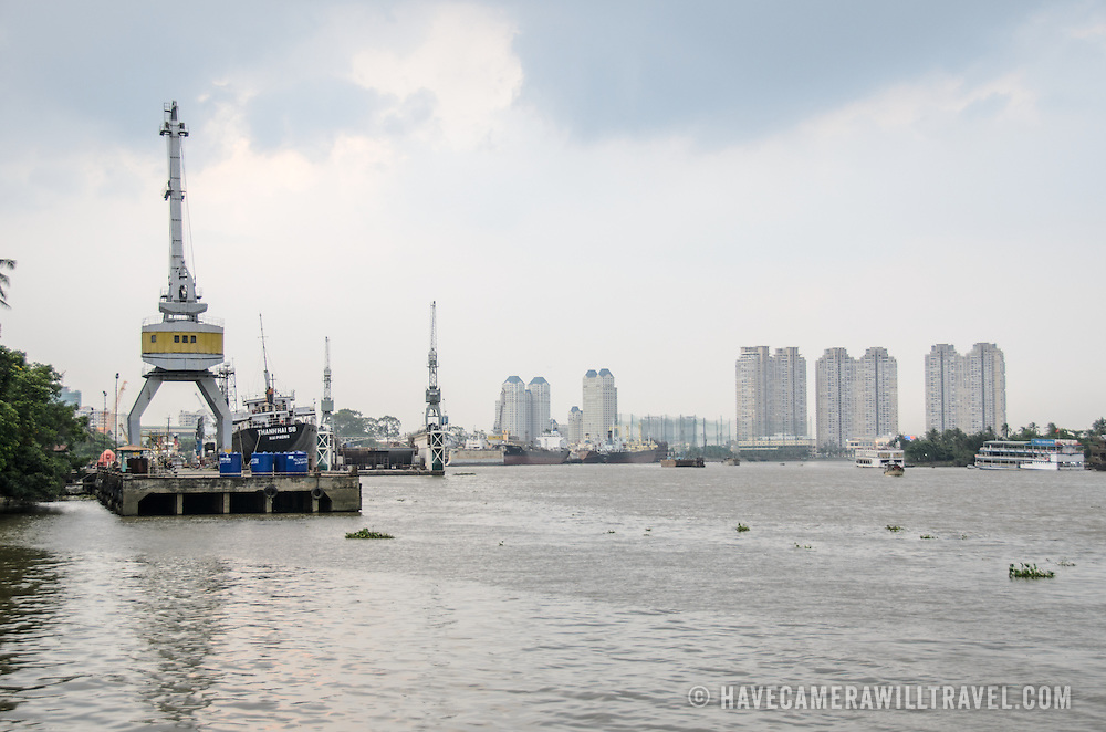 Part of the shipping port on the Saigon River in Ho Chi Minh City, Vietnam.