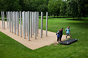 Memorial to the victims of the July 7th 7/7 bombings in London. These uprigls cast steel structures each mark one of the victims of the terrorist attcaks that took place in 2007.