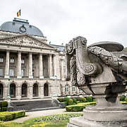 An urn in front of the Royal Palace of Brussels, the official palace of the Belgian royal family.