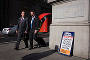 "Businessmen walk past David Cameron's Conservative party's election promise on Evening Standard headline in the City of London. David Cameron has said his aim is to guarantee a ""good life"" for British workers and families as he launched the Conservatives' election manifesto. The prime minister said he wanted ""to finish the job"" of rebuilding Britain on behalf of ""working people"". Labour said the Conservatives were the ""party of the richest in society""."