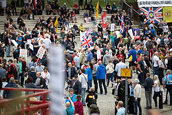 © Licensed to London News Pictures . 02/06/2018. Manchester, UK. Approximately 1,000 Democratic Football Lads Alliance supporters demonstrate at Castlefield Bowl in Manchester , eleven days after the first anniversary of the Manchester Arena terror attack . Photo credit : Joel Goodman/LNP