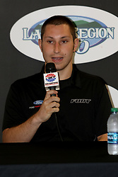 July 20, 2018 - Loudon, NH, U.S. - LOUDON, NH - JULY 20: Kaz Grala, driver of the #61 IT Coalition/15-40.org Ford during a press conference for the Overton's 200 Xfinity Series race on July 20, 2018, at New Hampshire Motor Speedway in Loudon, NH. (Photo by Malcolm Hope/Icon Sportswire) (Credit Image: © Malcolm Hope/Icon SMI via ZUMA Press)