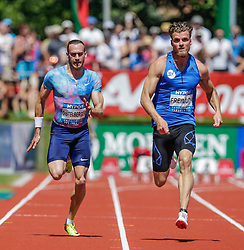 27.05.2017, Moeslestadion, Goetzis, AUT, 43. Hypo Meeting Goetzis, im Bild Dominik Distelberger (AUT) und Rico Freimuth (GER) beim 100m Lauf // Dominik Distelberger of Austira and Rico Freimuth of Germany during the 43rd Hypo Athletics Meeting at the Moeslestadion in Goetzis, Austria on 2017/05/27. EXPA Pictures © 2017, PhotoCredit: EXPA/ Peter Rinderer