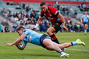 Izaia Perese of the Waratahs dives in to score during the Round 3 Trans-Tasman Super Rugby match between the NSW Waratahs and the Canterbury Crusaders at WIN Stadium in Wollongong, Saturday, May 29, 2021. (AAP Image/David Neilson) NO ARCHIVING, EDITORIAL USE ONLY