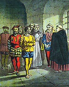 Baudicon Ogden & George Wishart (bc1513-1546), Scottish Protestant reformer, having been tried before Cardinal Beaton Bethune or Beautoun) and condemned to death, being urged to deny their faith and accept Rome.  Beaton assassinated in revenge for having the popular Wishart executed.  Chromolithograph from edition of 'Foxe's Book of Martyrs' c1860.