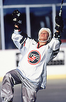 1998:  Former team USA hockey player Annie Cammins celebrates a goal during outdoor hockey game. Model Released.  Transparency slide scan.