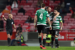 February 6, 2019 - Lisbon, Portugal - Sporting's midfielder Bruno Fernandes from Portugal celebrates with teammates after scoring during the Portugal Cup Semifinal first leg football match SL Benfica vs Sporting CP at Luz stadium in Lisbon, on February 6, 2019. (Credit Image: © Pedro Fiuza/ZUMA Wire)