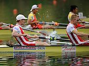 Lucerne, SWITZERLAND.   Lightweight men's four final,  DEN LM4-, left Thomas EBERT, and Bo HELLEBERG,  at the  2008 FISA World Cup Regatta, Round 2.  Lake Rotsee, on Sunday 01/06/2008.  [Mandatory Credit:  Peter Spurrier/Intersport Images].Lucerne International Regatta. Rowing Course, Lake Rottsee, Lucerne, SWITZERLAND.