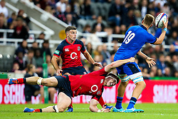 Tom Curry of England tries to tackled Federico Ruzza of Italy - Mandatory by-line: Robbie Stephenson/JMP - 06/09/2019 - RUGBY - St James's Park - Newcastle, England - England v Italy - Quilter Internationals
