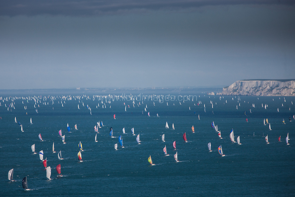 J.P.Morgan Asset Management Round the Island Race 2013. Pictures showing boats during the race.
