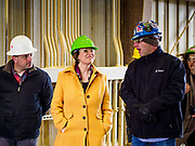 12 APRIL 2019 - NEVADA, IOWA: MIKE HOLLENBERG, CEO of Lincolnway Energy, (left), US Senator AMY KLOBUCHAR, (D-MN) and CHRIS CLEVELAND, Production Manager of Lincolnway Energy, (right) during a tour of the Lincolnway Energy ethanol plant in Nevada, IA. Sen. Klobuchar is touring Iowa this weekend to support her bid for the Democratic nomination of for the US Presidency. Iowa traditionally hosts the the first election event of the presidential election cycle. The Iowa Caucuses will be on Feb. 3, 2020.             PHOTO BY JACK KURTZ