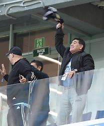 NIZHNY NOVGOROD, June 21, 2018  Former soccer player Diego Maradona (R) of Argentina cheers prior to the 2018 FIFA World Cup Group D match between Argentina and Croatia in Nizhny Novgorod, Russia, June 21, 2018. (Credit Image: © Yang Lei/Xinhua via ZUMA Wire)
