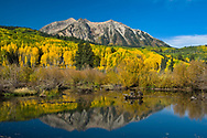 Reflections of the fall at Kebler Pass, the world's largest aspen grove.