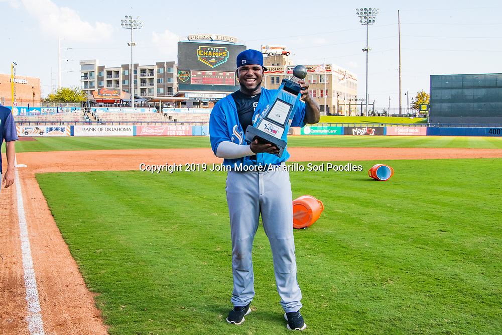 Amarillo Sod Poodles infielder Peter Van Gansen (5)0\ poses with the trophy after the Sod Poodles won against the Tulsa Drillers during the Texas League Championship on Sunday, Sept. 15, 2019, at OneOK Field in Tulsa, Oklahoma. [Photo by John Moore/Amarillo Sod Poodles]