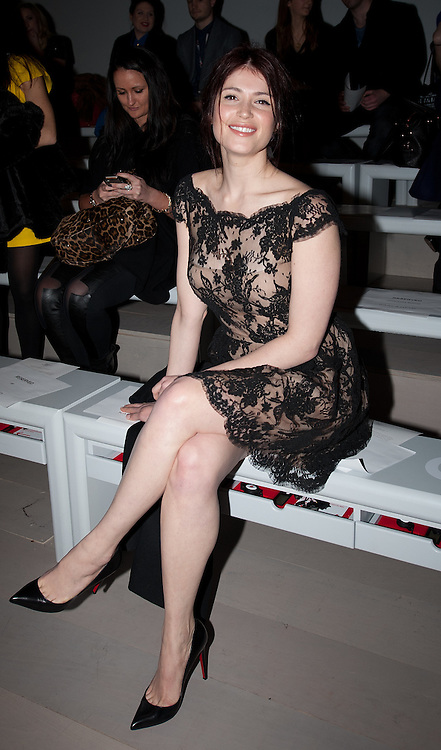 Gemma Arterton at the  front row at ISSA London Catwalk  February 18th 2012...Day 2 of London Fashion Week..