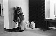 Farragut Metro Station Washington DC 1986; Homeless man in Liberty Plaza photo