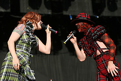 Ana Matronic and Jake Shears of Scissor Sisters on the main stage, T in the Park, Sunday 8 July 2007..T in the Park festival took place on the 6th, 7th and 8 July 2007, at Balado, near Kinross in Perth and Kinross, Scotland. This was the first time the festival had been held over three days..Pic ©Michael Schofield. All Rights Reserved..