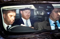 © Licensed to London News Pictures. 16/01/2020. London, UK. PRINCE HARRY, DUKE OF SUSSEX, is seen arriving at Buckingham Palace in London. Queen Elizabeth II recently held a summit meeting with senior members of the Royal family at Sandringham to discuss the future of Prince Harry and Megan, The Duke and Duchess of Sussex, after they announced their Intention to step back from official Royal duty and live abroad. Photo credit: Ben Cawthra/LNP