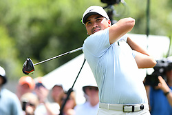 May 3, 2019 - Charlotte, NC, U.S. - CHARLOTTE, NC - MAY 03: Jason Day plays his shot from the ninth tee in round two of the Wells Fargo Championship on May 03, 2019 at Quail Hollow Club in Charlotte,NC. (Photo by Dannie Walls/Icon Sportswire) (Credit Image: © Dannie Walls/Icon SMI via ZUMA Press)