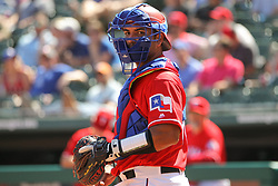 May 9, 2018 - Arlington, TX, U.S. - ARLINGTON, TX - MAY 09: Texas Rangers catcher Carlos Perez (60) looks for the next batter during the game between the Detroit Tigers and the Texas Rangers on May 9, 2018 at Globe Life Park in Arlington, TX. (Photo by George Walker/Icon Sportswire) (Credit Image: © George Walker/Icon SMI via ZUMA Press)