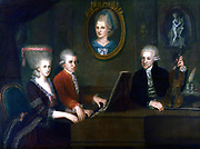 Wolfgang Amadeus Mozart with his sister Maria Anna and father Leopold in frot of a portrait of the children's mother, Anna Maria. Painted by Johann Nepomuk della Croce, 1780
