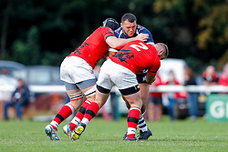 Bristol Rugby replacement Ellis Genge is tackled by London Welsh Number 8 Kieran Murphy and Hooker Koree Britton - Mandatory byline: Rogan Thomson/JMP - 07966 386802 - 13/09/2015 - RUGBY UNION - Old Deer Park - Richmond, London, England - London Welsh v Bristol Rugby - Greene King IPA Championship.