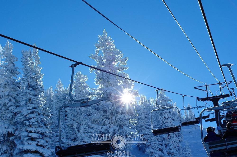 Ski lift early morning Alta Ski Resort