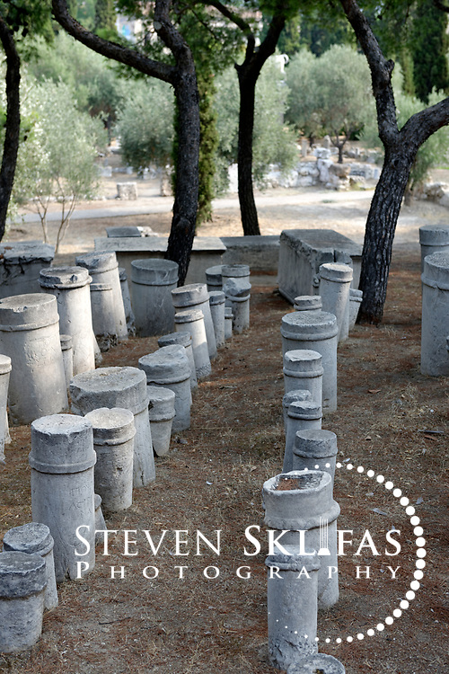 Hellenistic funerary markers known as kioniskos (small plain columns). Kerameikos. Athens. Greece.