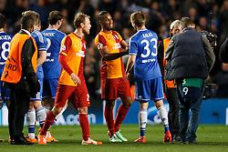 Galatasaray Forward Didier Drogba (CIV) congratulates Chelsea Defender Tomas Kalas (CZE) - Photo mandatory by-line: Rogan Thomson/JMP - 18/03/2014 - SPORT - FOOTBALL - Stamford Bridge, London - Chelsea v Galatasaray - UEFA Champions League Round of 16 Second leg.