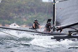 M32 sailing during the practice day of the Extreme Sailing Series in Sydney, 10-12-2014.