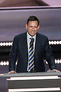 Billionaire venture capitalist Peter Thiel, addresses delegates on the final day of the Republican National Convention July 21, 2016 in Cleveland, Ohio.