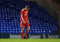 LONDON, ENGLAND - Wednesday, February 1, 2012: Liverpool's Adam Morgan looks dejected after losing 1-0 to Tottenham Hotspur during the NextGen Series Quarter-Final match at White Hart Lane. (Pic by David Rawcliffe/Propaganda)