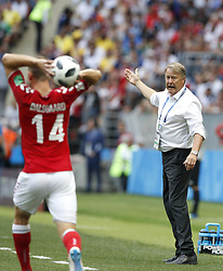 MOSCOW, June 26, 2018  Denmark's head coach Age Hareide (R) gives instructions to players during the 2018 FIFA World Cup Group C match between Denmark and France in Moscow, Russia, June 26, 2018. (Credit Image: © Cao Can/Xinhua via ZUMA Wire)