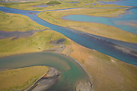 Aerial view over Lake Laitaure showing silt deposits, sand spits and vegetation encroachment, Sarek National Park, Laponia World Heritage Site, Sweden