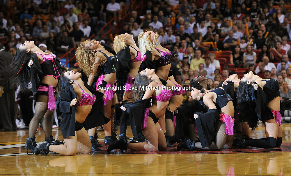 March 12, 2011; Miami, FL, USA; Miami Heat dancers perform during the end of the first quarter during a game against the Memphis Grizzlies at American Airlines Arena. Mandatory Credit: Steve Mitchell