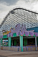 Six Flags New Orleans amusement park in Eastern New Orleans, Louisiana, closed since Hurricane Katrina  in 2005 remains in a sate of ruin. The remains of Six Flags amusement park are on low lying land owned by the city of New Orleans and have not be redeveloped since Katrina.
