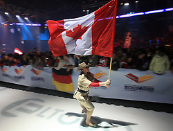Canadian flag at the Opening ceremony at FIS Nordic World Ski Championships Liberec 2008, on February 18, 2009, in Tipsport Arena, Liberec, Czech Republic. (Photo by Vid Ponikvar / Sportida)