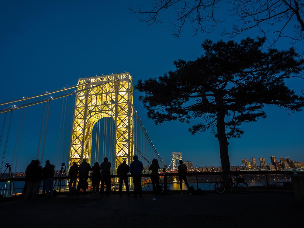George Washington Bridge lit up on a major holiday