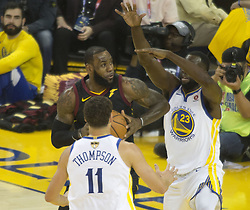 May 31, 2018 - Oakland, California, U.S - LeBron James #23 of the Cleveland  Cavaliers looks to take  a shot during  their NBA Championship Game 1 with the  Golden State Warriors  at Oracle Arena in Oakland,  California on Thursday,  May 31, 2018. ARMANDO  ARORIZO/PI (Credit Image: © Prensa Internacional via ZUMA Wire)