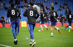 Chelsea players wearing tributes to the late Ray Wilkins during the Premier League match at Stamford Bridge, London.