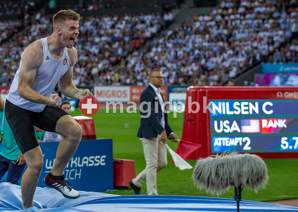 Christopher NILSEN of United States of America (USA) competes in the Men's Pole Vault during the Iaaf Diamond League meeting (Weltklasse Zuerich) at the Letzigrund Stadium in Zurich, Switzerland, Thursday, Aug. 29, 2019. (Photo by Patrick B. Kraemer / MAGICPBK)