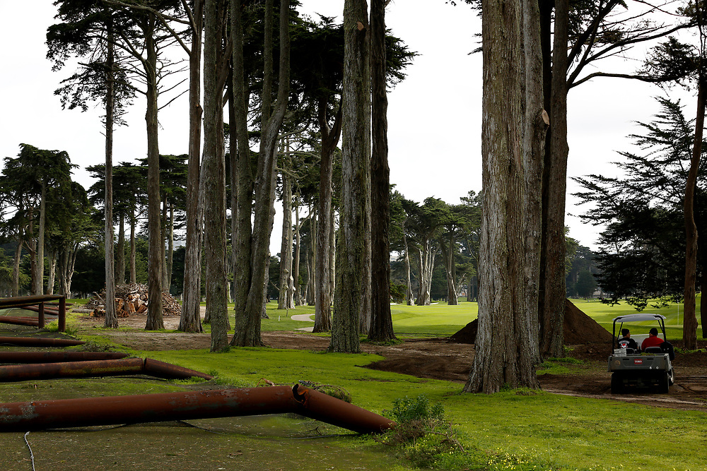 The practice range at TPC Harding Park Golf Club on Tuesday, Jan. 29, 2019, in San Francisco, Calif. The range sustained severe damage in the recent storms.