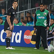 Dan Carter, New Zealand, prepares to kick watched by Mils Muliaina during the New Zealand V France, Pool A match during the IRB Rugby World Cup tournament. Eden Park, Auckland, New Zealand, 24th September 2011. Photo Tim Clayton...